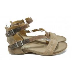 Анатомични дамски сандали от естествена кожа ИО 1681 бежов | Равни дамски сандали | MES.BG
