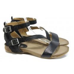 Анатомични дамски сандали от естествена кожа ИО 1681 черен | Равни дамски сандали | MES.BG