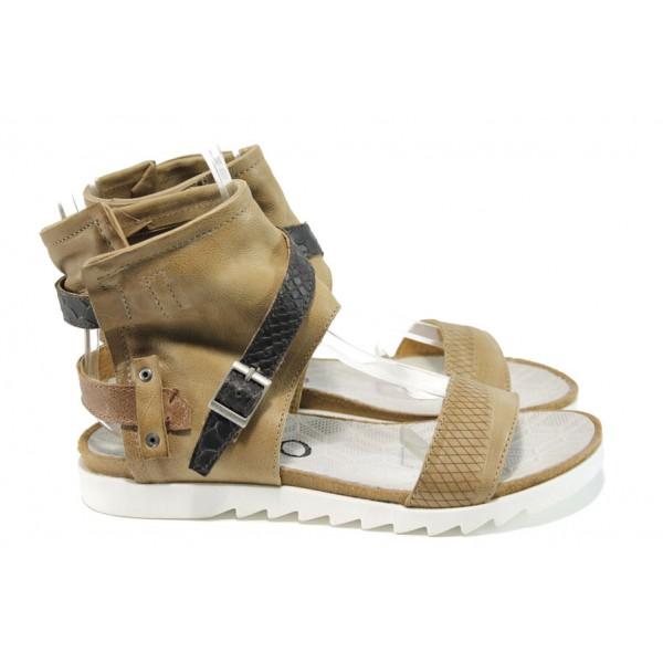 Анатомични български сандали от естествена кожа ИО 1684 бежов | Равни дамски сандали | MES.BG