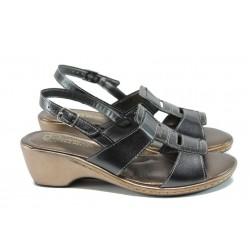 Анатомични български сандали от естествена кожа ГР 6973 черен | Дамски сандали на среден ток | MES.BG