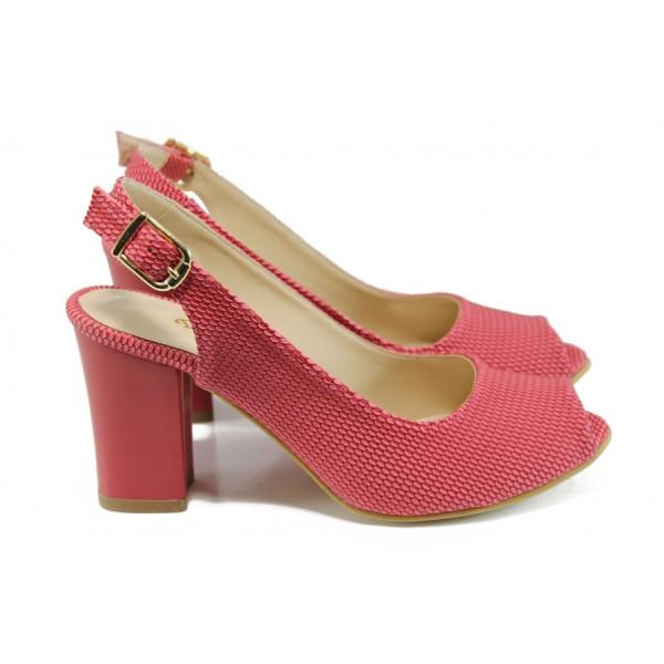 Дамски сандали на ток МИ 650 червен | Дамски сандали на висок ток | MES.BG