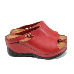 Анатомични дамски чехли /тип сабо/ от естествена кожа МИ 129 червен| Дамски чехли на платформа | MES.BG