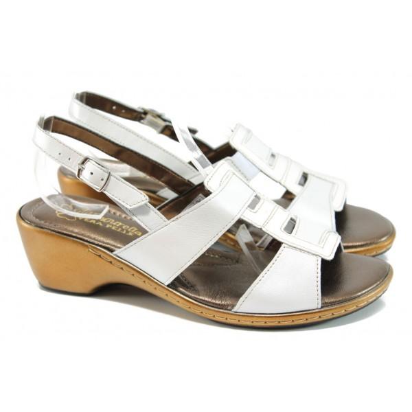 Анатомични български сандали от естествена кожа ГР 6973 бял | Дамски сандали на среден ток | MES.BG