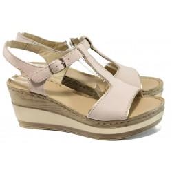 Анатомични български сандали от естествена кожа на платформа ГР 10014 розов | Дамски сандали на ток | MES.BG