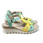 Анатомични дамски сандали от естествена кожа НЛ 206-15431 жълт-зелен | Дамски сандали на платформа | MES.BG