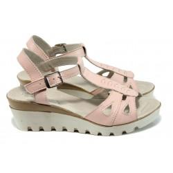 Анатомични дамски сандали от естествена кожа НЛ 206-15431 розов | Дамски сандали на платформа | MES.BG