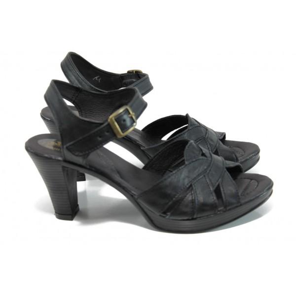 Анатомични български сандали от естествена кожа НЛ 202-6843 черен | Дамски сандали на ток | MES.BG