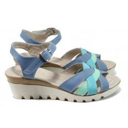 Анатомични сандали от естествена кожа НЛ 202-15431 син-зелен | Дамски сандали на платформа | MES.BG