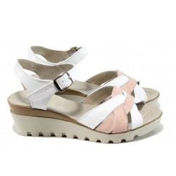 Анатомични български сандали от естествена кожа НЛ 202-15431 бял-розов | Дамски сандали на платформа | MES.BG