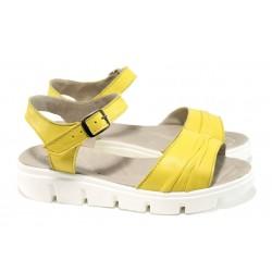 Анатомични български сандали от естествена кожа НЛ 239-382 жълт | Равни дамски сандали | MES.BG
