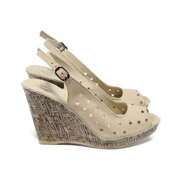 Анатомични български сандали от естествена кожа НЛ 243-платформа бежов | Дамски сандали на платформа | MES.BG