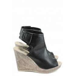 Анатомични дамски сандали от естествена кожа НЛ 265-платформа черен | Дамски сандали на платформа | MES.BG