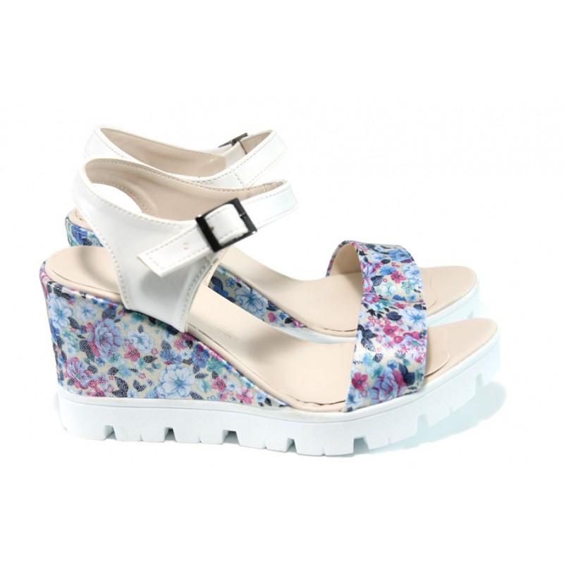 7a78510e4cf Дамски сандали на платформа МИ 100-760 син-цветя | Дамски сандали на  платформа| MES.
