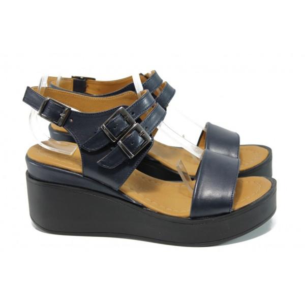 Анатомични дамски сандали от естествена кожа МИ 825 син | Дамски сандали на платформа| MES.BG