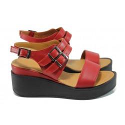 Анатомични дамски сандали от естествена кожа МИ 825 червен | Дамски сандали на платформа| MES.BG