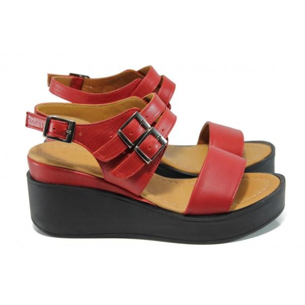 Анатомични дамски сандали от естествена кожа МИ 825 червен   Дамски сандали на платформа  MES.BG