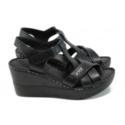 Анатомични дамски сандали от естествена кожа МИ 154 черен | Дамски сандали на платформа | MES.BG