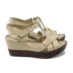 Анатомични дамски сандали от естествена кожа МИ 154 бежов | Дамски сандали на платформа | MES.BG