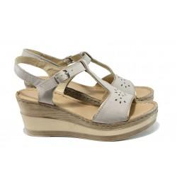 Анатомични български сандали от естествена кожа ГР 10014 бежов | Дамски сандали на платформа | MES.BG