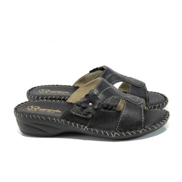 Анатомични български чехли от естествена кожа ГР 7293 черен | Дамски чехли на ток | MES.BG