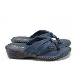 Анатомични български чехли от естествена кожа ГР 300043 син | Дамски чехли | MES.BG