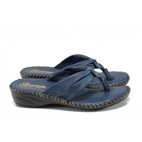 Анатомични български чехли от естествена кожа ГР 300043 син   Дамски чехли   MES.BG