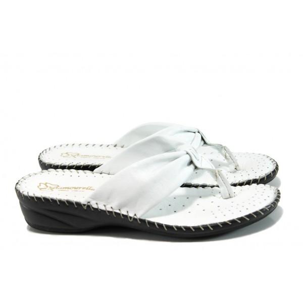 Анатомични български чехли от естествена кожа ГР 300043 бял | Дамски чехли | MES.BG