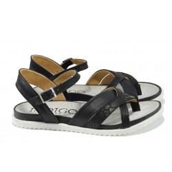 Анатомични дамски сандали от естествена кожа ИО 15102 черен | Равни дамски сандали | MES.BG