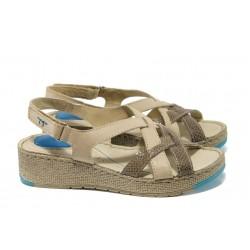 Дамски ортопедични сандали от естествена кожа ГР 49006 бежов | Дамски сандали | MES.BG