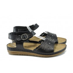 Анатомични дамски сандали Jump 14766 черен | Равни дамски сандали | MES.BG
