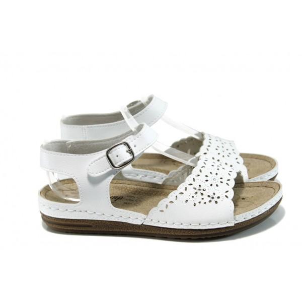 Анатомични дамски сандали Jump 14766 бял | Равни дамски сандали | MES.BG