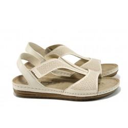 Анатомични дамски сандали Jump 14768 бежов | Равни дамски сандали | MES.BG