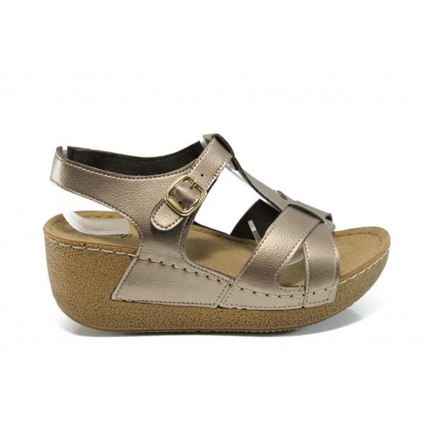 Анатомични дамски сандали Jump 14797 злато | Равни дамски сандали | MES.BG
