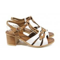 Анатомични дамски сандали от естествена кожа МИ 1155 бял-кафяв | Дамски сандали на ток | MES.BG