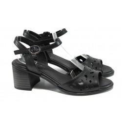 Дамски сандали от естествена кожа МИ 912 черен | Дамски сандали на ток | MES.BG