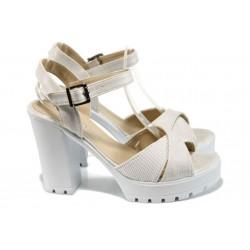 Анатомични дамски сандали на ток МИ 82 бял | Дамски сандали на ток | MES.BG