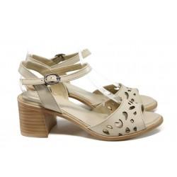 Дамски сандали от естествена кожа МИ 912 бежов | Дамски сандали на ток | MES.BG