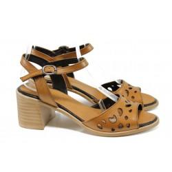 Дамски сандали от естествена кожа МИ 912 кафяв | Дамски сандали на ток | MES.BG