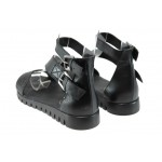 Анатомични дамски сандали от естествена кожа НБ 6652-1003 черен | Равни дамски сандали | MES.BG