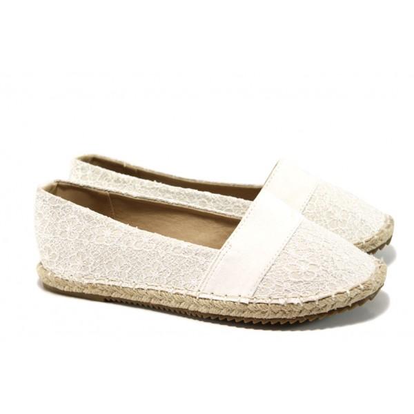 Анатомични дамски еспадрили с дантела АБ 160606-17 бял   Равни дамски обувки   MES.BG