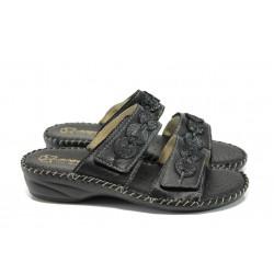 Анатомични български чехли от естествена кожа ГР 300045 черен | Дамски чехли | MES.BG