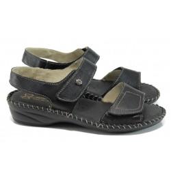 Анатомични български сандали от естествена кожа ГР 7284 черен | Дамски сандали | MES.BG