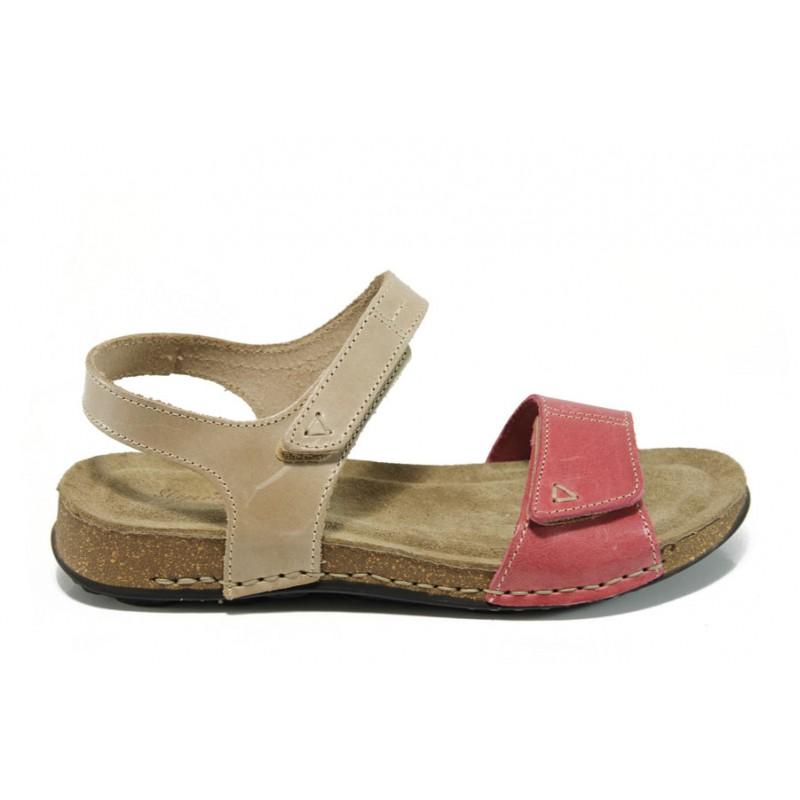 Анатомични дамски сандали от естествена кожа ГР 14930 бежов-розов | Равни дамски сандали | MES.BG