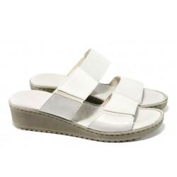 Анатомични български чехли от естествена кожа ГР 4626 бял | Дамски чехли | MES.BG