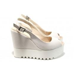 Дамски сандали на платформа МИ 109-259 бял | Дамски сандали на ток | MES.BG