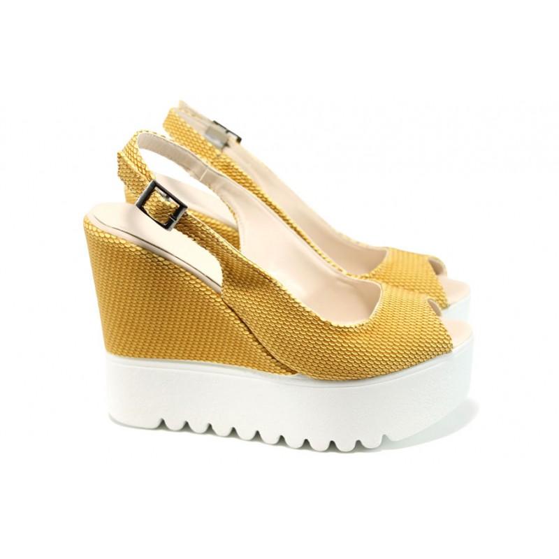 2f3a61d7f60 Дамски сандали на платформа МИ 109-259 жълт | Дамски сандали на ток | MES.BG