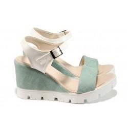 Дамски сандали на платформа МИ 100-760 зелен | Дамски сандали на ток | MES.BG