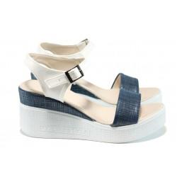 Дамски сандали на платформа МИ 100-753 син | Дамски сандали на ток | MES.BG