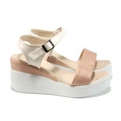 Дамски сандали на платформа МИ 100-753 корал | Дамски сандали на ток | MES.BG