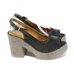 Анатомични дамски сандали на ток МИ 02-1 черен | Дамски сандали на висок ток | MES.BG